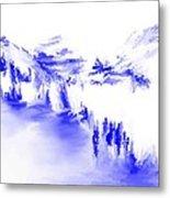 Minimal Landscape Monochrome In Blue 111511 Metal Print
