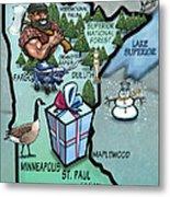 Minnesota Cartoon Map Metal Print