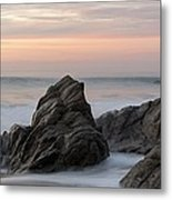 Mist Surrounding Rocks In The Ocean Metal Print