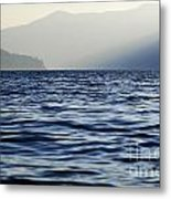 Misty Alpine Lake With Mountains Metal Print