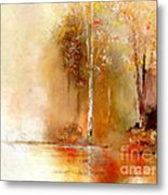 Misty Autumn Morn Metal Print