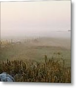 Misty Fields Divided By A Line Of Rocks Metal Print