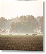 Misty Haystacks Metal Print