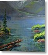 Misty Lake Metal Print