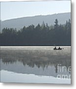 Misty Morning Fishing Metal Print