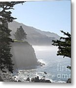 Misty Morning On The Big Sur Coastline Metal Print by Camilla Brattemark