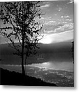 Misty Reflections Bw Metal Print