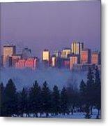 Misty Skyline, Edmonton, Alberta, Canada Metal Print