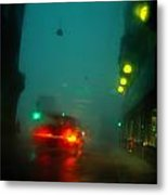 Misty View Of Car Lights On A City Metal Print