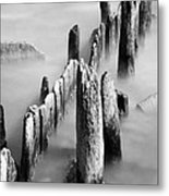 Misty Wooden Posts Metal Print