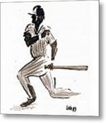 Mlb Base Hit Metal Print