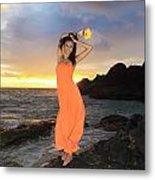 Model In Orange Dress Metal Print
