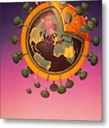 Model Of Aids Virus With World Map On It Metal Print