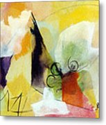Modern Art With Yellow Black Red And Fanciful Clouds Metal Print