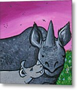 Momma And Baby Rhino Metal Print