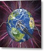 Monitoring Earth, Conceptual Artwork Metal Print by Laguna Design