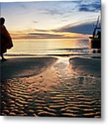 Monk Walk For Food On The Beach Metal Print by Arthit Somsakul