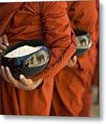 Monks With Rice Bowls, Inle Lake Metal Print