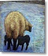 Monkton Ewe With Her Lambs In The Snowy Field Metal Print
