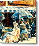 Montreal Cafe City Scenes Prince Arthur And Duluth Street Metal Print