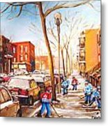 Montreal Street With Six Boys Playing Hockey Metal Print