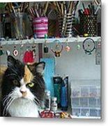 Moo Shu Cat On My Desk Metal Print by Kristi L Randall