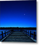 Moon And Venus In The Blue Metal Print by Carlos Gotay