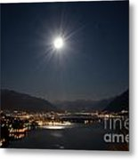 Moon Light Over An Alpine Lake Metal Print