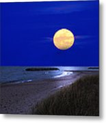Moon On The Beach Metal Print