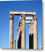 Moon Over Corinthian Columns Of The Temple Of Olympian Zeus Ancient Greek Architecture Athens Greece Metal Print