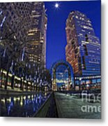 Moon Over Financial Center Metal Print
