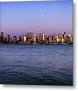 Moon Over Midtown Manhattan Skyline Metal Print