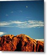 Moon Over Red Rocks Garden Of The Gods Metal Print