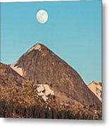 Moon Over Sierra Peak Metal Print