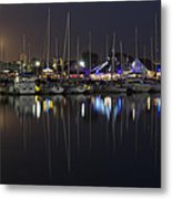 Moon Over The Marina Metal Print