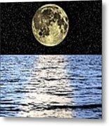 Moon Over The Sea, Composite Image Metal Print