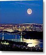 Moon Over Vancouver, Time-exposure Image Metal Print by David Nunuk