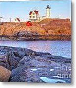 Moonrise At Nubble Light  Metal Print