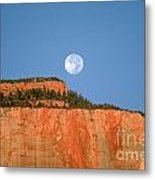Moonrise Over East Temple - Zion  Metal Print