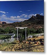 Moonrise Over Grand View Ranch Metal Print