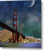 Moonrise Over The Golden Gate Metal Print
