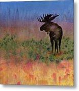 Moose On The Tundra Metal Print by Carolyn Doe