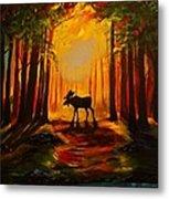 Moose Sunset Metal Print