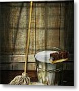 Mop With Bucket And Scrub Brushes Metal Print