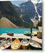 Moraine Lake - Banff National Park - Canoes Metal Print