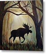 Morning Meandering Moose Metal Print