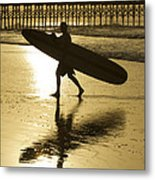 Morning Session Longboard Surfing Folly Beach Sc  Metal Print