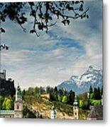 Morning View Of Salzburg From Kapuzinerberg Metal Print