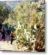 Moroccan People And Cacti Metal Print