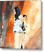 Moroccan Woman Carrying Baby Metal Print